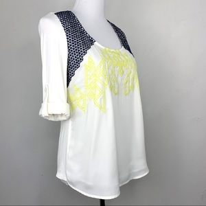 Skies are Blue Geo Embroidered Button Sleeve Top